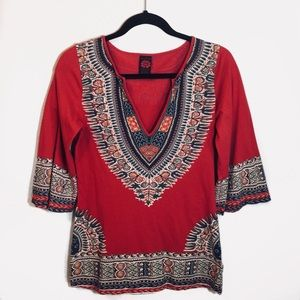 Lucky Brand Red Tribal Bell Sleeve Top
